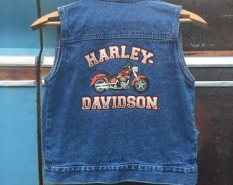Harley Davidson Denim Cutoff Vest - Vintage Biker Vest - Motorcycle Backpatch - Women's XSmall - Kid's Size 8 - Harley Davidson Patch