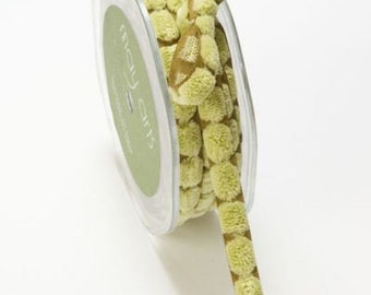 May Arts Sage Chenille Dots On Olive Ribbon 3/8. Crafting Supplies, Gift Wrapping, Upholstery.