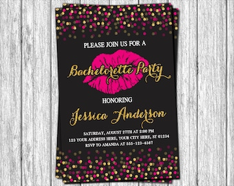 Bachelorette Party Invitation - Black, Gold, and Hot Pink