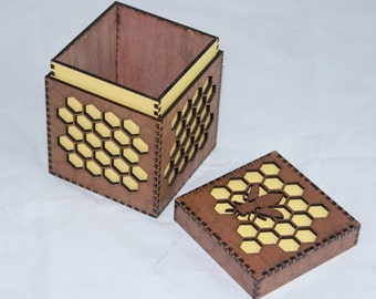Unique yellow or plain honeycomb Bee Box - special keepsakes, memories, bees, honeycomb, honey