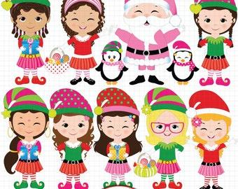 Christmas clipart Santa's elves clipart Cute elf