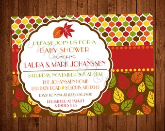 Fall Leaves Baby Shower Invitation (Printable)