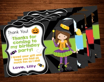 Cute Halloween Thank You Card (Frankenstein, Witch, Werewolf, Mummy, or Dracula available!)