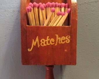 Vintage Wooden Matches Holder