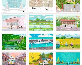 Cat Illustration Postcard  B-Set (12 pieces )