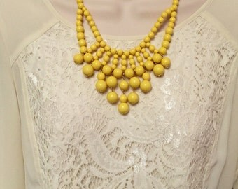 Buttercup Yellow Bubble Bib Beaded Chandelier Statement Necklace