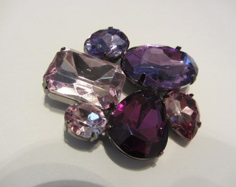 Purple rhinestone brooch big and bold 80's large prong set r/s brooch