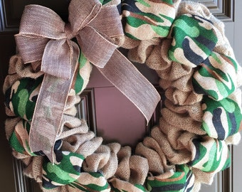 Camo Wreath - Camouflage - Burlap Wreath - Door Wreath - Everyday Wreath - Door Decor - Front Door Wreath - Spring Wreath