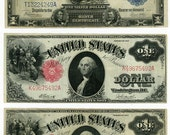 U.S. Paper Money Currency  Three 1.00 Bills   1899 Silver Certificate &  Two(2) 1917 United States Notes   Antique Vintage Money !  Look !