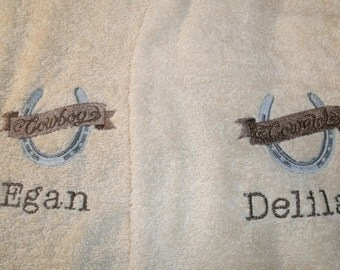 Cowboy and Cowgirl Western Horseshoe Personalized His Hers Bath Towels Set