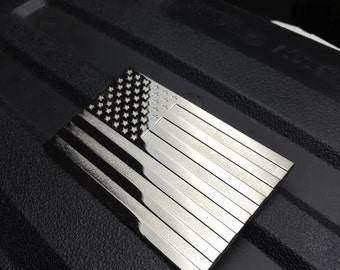 Chrome US Flag Auto Car Emblem