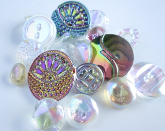 Sweet iridescent & clear glass vintage buttons. Various sizes and details. Lot of 16 (Oct10)