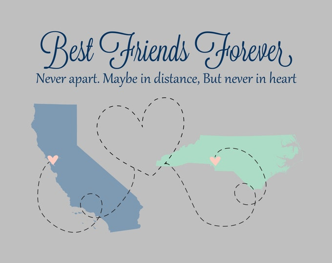 Long Distance Relationship, Friends Personalized Maps Heart Dotted Line, Miles, Kilometers, Sister Gift, Gift for Her, Deployment, Christmas