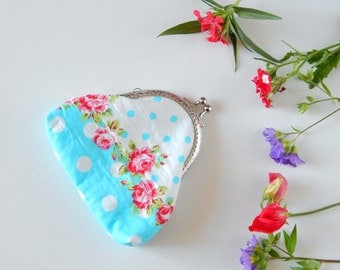 Clip purse, a pretty blue floral kiss clasp purse, perfect as a bridesmaid gift, present for teacher or gift for any occasion