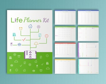 LIFE PLANNER Printable pdf A4 Daily Weekly Monthly Project Menu Life Organizer Agenda Yearly Calendar Undated. Instant Download. 9 pages