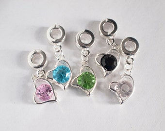 heart charms with coloured stones