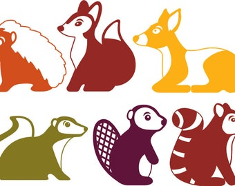 One Color Woodland Animals - Vector