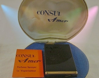 CONSUL Amor: Black & Gold Perfume Atomizer Sprayer in original box - From Germany / Was 144