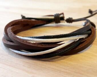 Cool mens bracelet brown leather adjustable