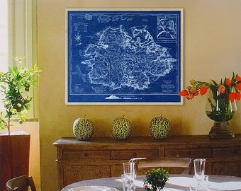 "Antigua map 1775, Old map of Antigua Island in 5 sizes up to 45x36"" (110x90cm) Antigua and Barbuda, also in blue - Limited Edition of 100"