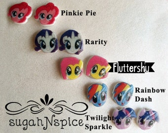 My Little Pony Earrings - My Little Pony Studs - Pinkie Pie Earrings - Rarity Earrings - Twilight Sparkle Earrings - Rainbow Dash Earrings