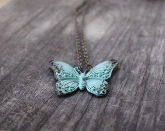 Vintage Butterfly Necklace, Patina Butterfly Necklace, Verdigris Butterfly Charm, Nature Jewelry, Butterfly Pendant, Romantic, Rustic, Women