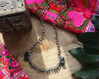 Necklace made with black ceramic and acrylics. Metal Silver Chain.