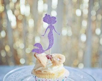 Mermaid Cupcake toppers, 12 pack mermaid cupcake toppers
