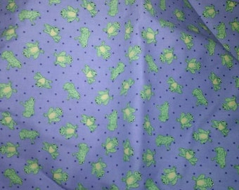 Frogs Fabric Blue Lime Frog Green Cotton Polka Dot