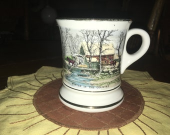 """Vintage Mustache Mug - Viking Japan """"Winter In The Country"""""""