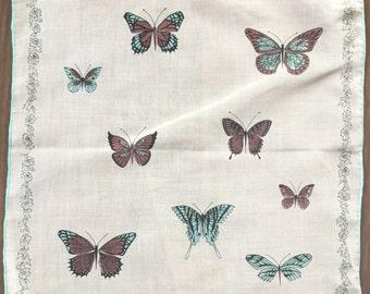 Vintage Collette Handkerchief Hanky Hand Printed Butterflies Ladies Hankie