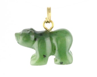 Canadian Nephrite Jade Charm, Bear
