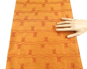 Orange Embroidered Silk Dupioni 1 Yard