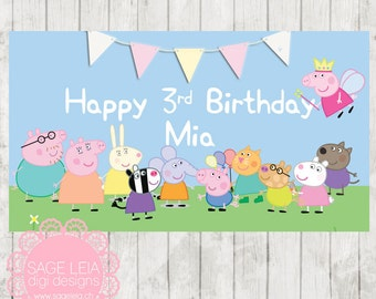 Custom Printable Peppa Pig Girl Themed Pastel Birthday Backdrop