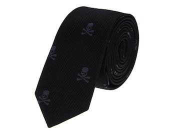 Black Skull Neckties.Party Ties.Ties for Men.Wedding Ties.Gift for Him.Skinny Tie.Mens Suit Accessories