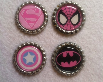 Pink Super Hero Bottle Cap Magnets (Set of 4)