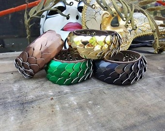 leather wide Small scalemail bracelet