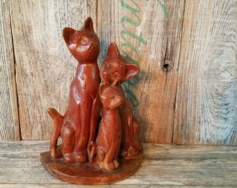 Vintage Handcarved Set of 3 Wooden Cats, Vintage Cat Collector