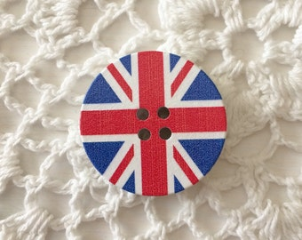 Union Jack Button, London Button, British, England