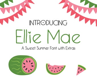 Ellie Mae, Handwritten Font, Handwriting Font, Watermelon Clipart, Summer Clipart, watermelon Graphics, Summer Graphics, Watermelon Vector