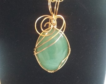 Aventurine and brass, wire wrapped cabochon pendant necklace handmade unique