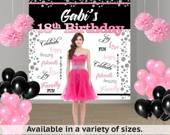 18th Birthday Personalized Photo Backdrop -Happy Birthday Photo Backdrop- 21st Birthday Large Photo Backdrop, 15th Birthday Backdrop