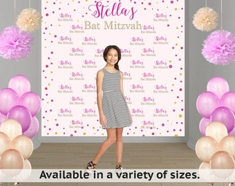 Birthday Confetti Party Personalized Photo Backdrop -Bat Mitzvah Photo Backdrop- 13th Birthday Large Photo Backdrop, Custom Photo Backdrop