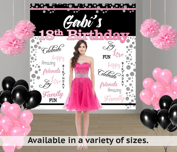 18th Birthday Personalized Photo Backdrop Happy Birthday