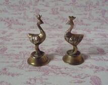 """Pair of Vintage Brass Peacock Menu Holders 2 1/2"""""""