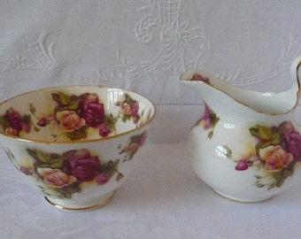 Vintage 'Golden Rose' New Chelsea Staffs China Milk Jug and Sugar Bowl