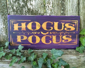 Hocus Pocus Halloween Sign (Vintage Dark Purple)