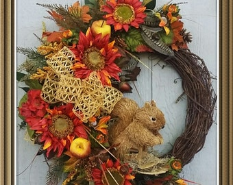 Fall Wreath, Grapevine Wreath, Wine/Orange Sunflower Wreath, Squirrel Wreath, Autumn Wreath, Fall Decor, Wall/ Door Wreath, Nature Wreath