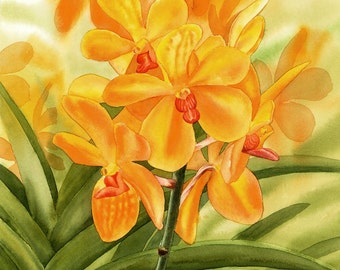 Yellow Orchid, ORIGINAL watercolor painting, orchid painting, watercolor flower, watercolor art, EsperoArt.