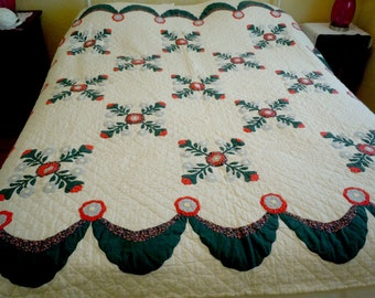 WHIG ROSE Quilt, Appliqued, Antique,  Hand Sewn, Teal, Orange, Red, Excellent Condition, Country, Farmhouse